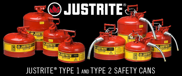 Spill Containment JustRite Type I and Type II Safety Cans