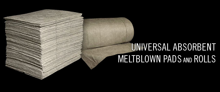MeltBlown Sorbents Universal Absorbent MeltBlown Pads and Rolls